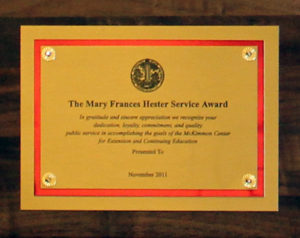 Mary Frances Hester Award