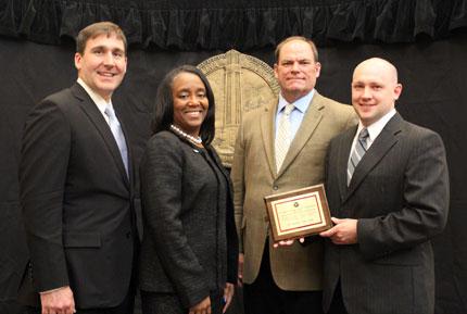 Pictured left to right: Patrick Fleming, Dr. Saundra Williams, Andrew Billingsley, Daniel Boyette