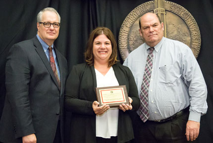 Pictured left to right: Provost Warwick Arden, Trish Romo, Andrew Billingsley